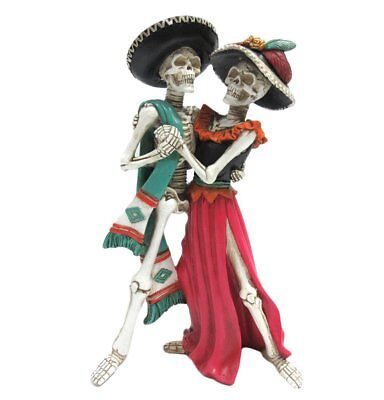 Day of the Dead Celebration Skeleton Couple Dancing Figurine 12 inch