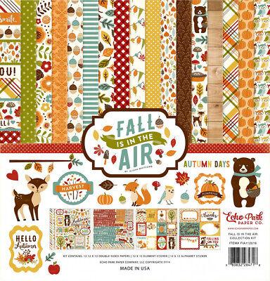 Fall Scrapbook Paper (12 X 12 Echo Park Fall is in the Air Autumn Pumpkin Patch Scrapbook Paper Kit)