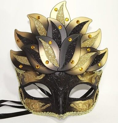 MASCHERINA VENEZIANA decorata fiore loto venezia maschera domino nero nera