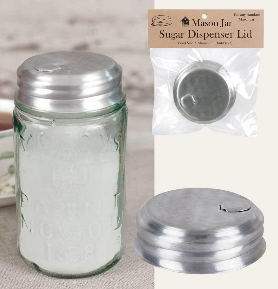 Unique Mason Jar Sugar Dispenser Pourer Lid, Salt, Spices, Aluminum Food Safe