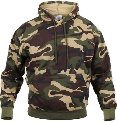 Camo Hoodie Pullover Hooded Sweatshirt Woodland Camouflage Army Fatigues Sweat Camo Hooded Pullover