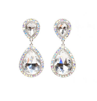 WEDDING BRIDAL PROMP FASHION CLEAR AB CRYSTAL TEARDROP SILVER COLOR CLIP EARRING