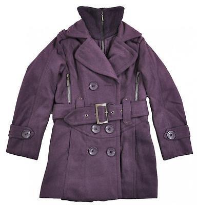 Pea Coat Girls (Yoki Girls Purple Faux Wool Double Breasted Pea Coat Size 4 5/6 6X)