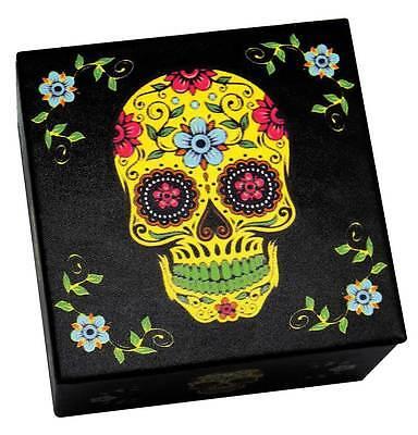 Day of The Dead Sugar Skull Black & Yellow Jewelry Trinket Box