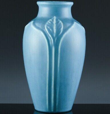 AUTH. LARGE 1928 ART DECO ROOKWOOD CALLA LILY 2379 OHIO POTTERY BLUE GLAZE VASE
