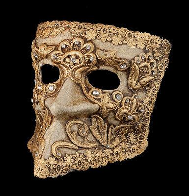 Mask from Venice Bauta Macrame Golden Authentic Venetian 1896