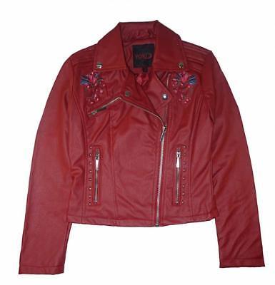 Yoki Girls Red Faux Leather Moto Jacket Size 4 5/6 6X 7 8/10 12/14 16 (Faux Leather Girls Jacket)