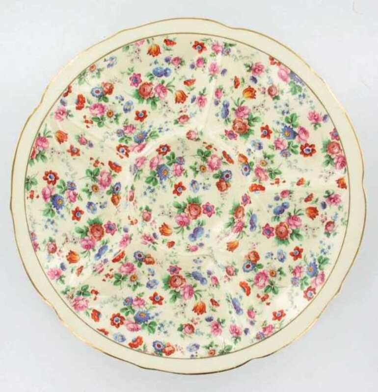 """ANTIQUE ERPHILA DORSET CHEERY CHINTZ SECTIONED SERVING PLATE GERMANY 11.5"""" !"""