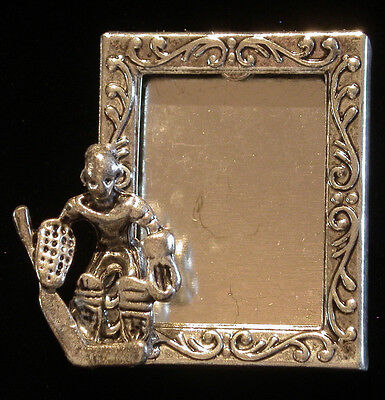 Ice Hockey Goalie Photo Frame Pin Silver Plate & Matte Silver Ox Hockey Skates