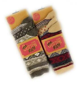 6 Pairs Of Ladies Fairisle Socks, Soft Chunky Cotton Rich Ankle Socks, Size 4-7