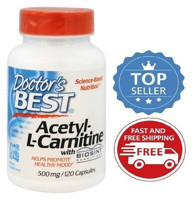 Doctor's Best Acetyl-L-Carnitine, 500mg, 120 Capsules - PROMOTES HEALTHY