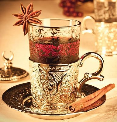 Non-essential Authentic Turkish Tea Water Coffee Set 6 Cups Glass and Saucer Covers
