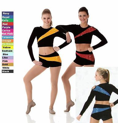Pep Kostüm (Pep Squad Dance Team Costume PURPLE & BLACK Color Guard Tap Cheer Uniform New)