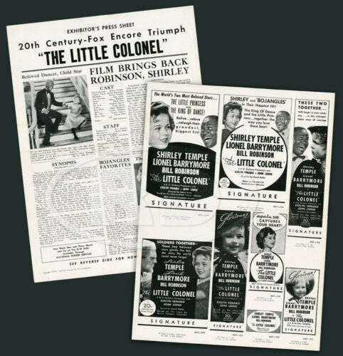 Shirley Temple Little Colonel 20th Fox 1950 Re-Release 2-Sided Press Sheet