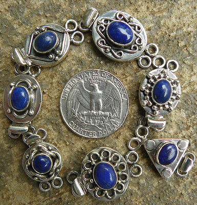 Box Clasp Sterling Silver Double Strand Lapis Gemstone varied (Style Sterling Silver Clasp)