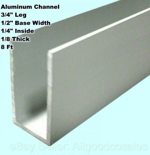 "Aluminum Channel 3/4"" Leg x 1/2"" Base Width x 1/4"" Inside x 1/8 Thick x 8 Ft"
