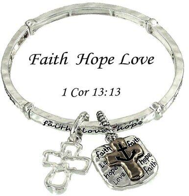 Faith Hope Love Inspiration Bracelet with Cross and Anchor Charm Elastic -