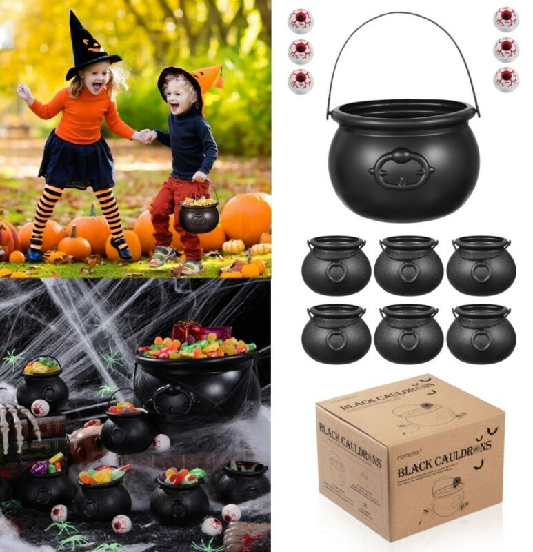 7X Halloween Candy Pot Spooky Skull Witch Plastic Cauldron Buckets 6X Eyeballs