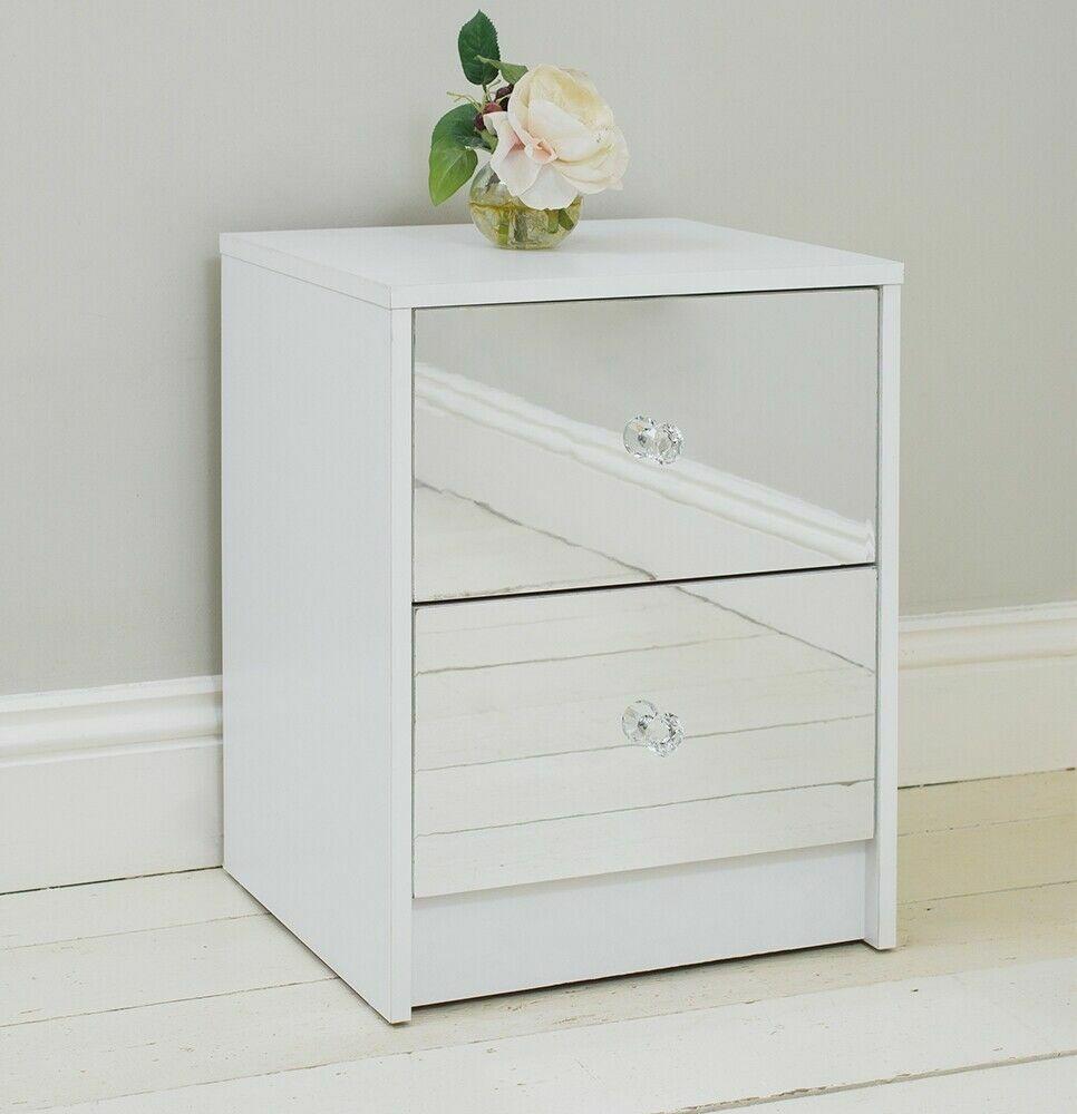 Details About 2 Drawer Mirrored Bedside Table White Frame Bedroom Furniture Storage Cabinet Uk