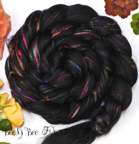 FIREWORKS - Signature Blend Wool Roving Merino, Sari Silk, Combed Top 4 oz