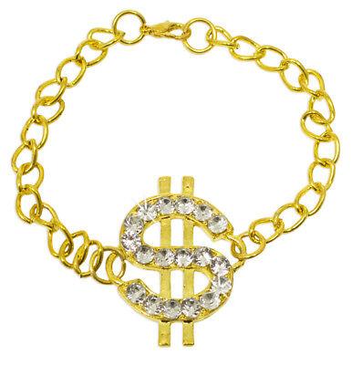 Armband mit Dollar Zeichen und Strass - Gold - Glitzer Schmuck zum Partykostüm