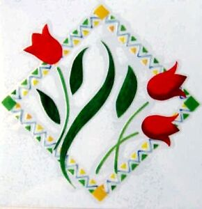 Red Tulip Flower Rub On Permanent Transfer Decal Glass Tiles Plastic DT51