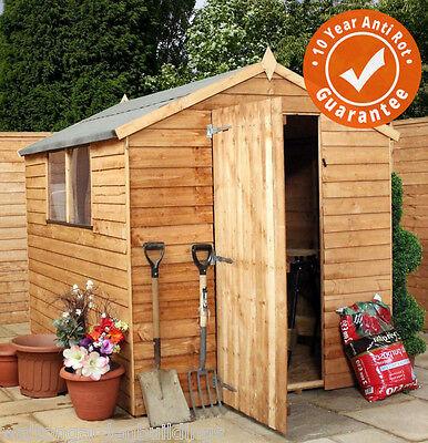 8x6 Overlap Wooden Garden Storage Shed Single Door Window Apex Roof 8Ft 6Ft