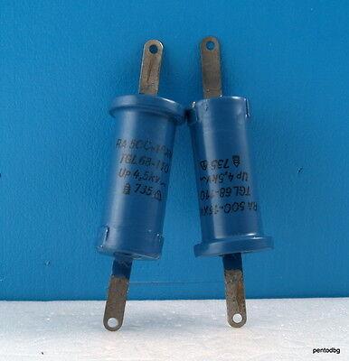 2pcs Rft Draloric Standard Capacitor Ra16x40 500pf 4.5kv 4.2kva Arms-5a