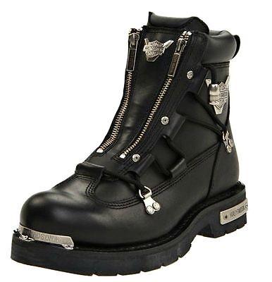 HARLEY-DAVIDSON FOOTWEAR Men's Brake Light Black Leather Motorcycle Boots D91680 Blk Mens Footwear