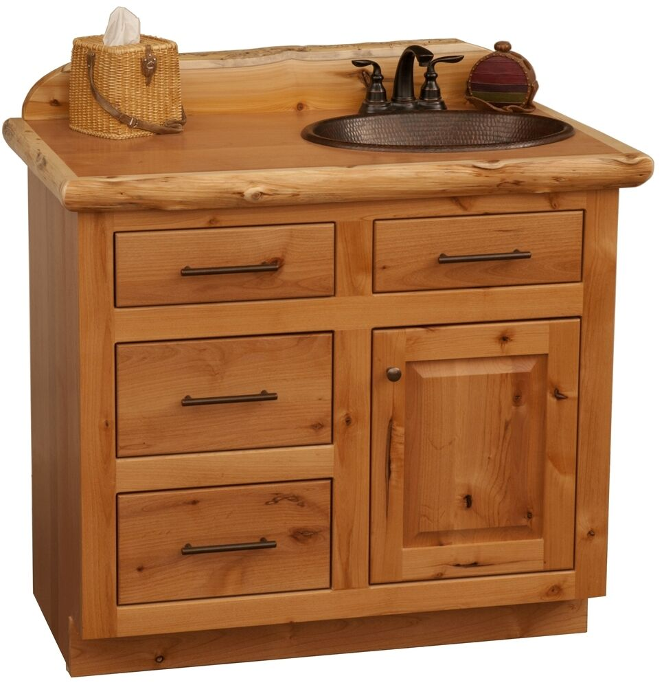Tonkalog 48 Rustic Alder Wood Log Cabin Bathroom Vanity Cabinet