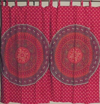 Maroon and Orange Block Print Mandala Elephant Patterned Indian Window Curtains ()