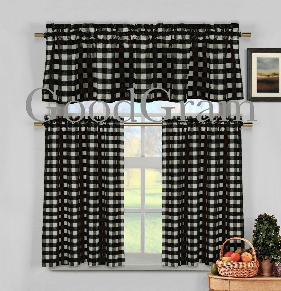 Black Gingham Checkered Plaid Kitchen Curtain Tier & Valance