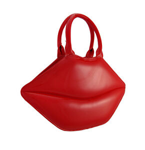 Glossy Red Lips Patent Vinyl Handbag Color RED