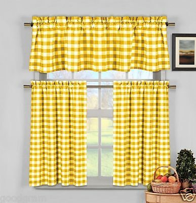 Yellow Gingham Checkered Plaid Kitchen Tier Curtain Valance Set by Duck River](Yellow Gingham)