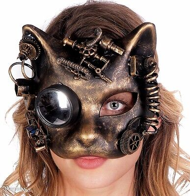 Steampunk Cat Mask Masquerade Halloween Costume Eye Face Gears Goggles - Halloween Cat Face Costume