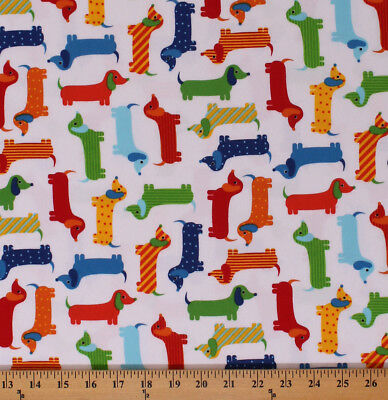 "Used, 42"" Flannel Dachshunds Dogs Dog Animals on White Urban Zoologie BTY D275.12 for sale  Grand Rapids"