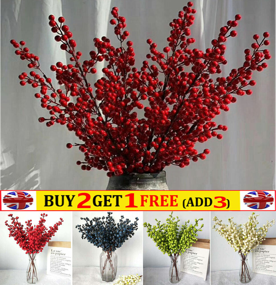 Home Decoration - 5 Heads Artificial Berry Flowers Christmas  Xmas Table Home Party Decor Wedding
