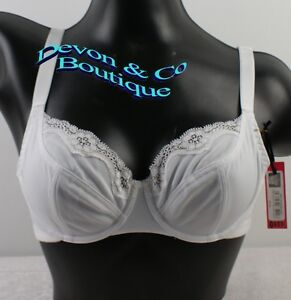 Ladies-Soft-Cup-White-Bra-underwired-Lace-on-Cup-Size-34-40-B-C-D-DD