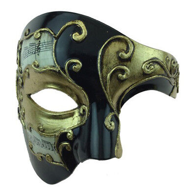 Phantom Opera Style Black Gold Musical Notes Venetian Halloween Mardi Gras  ](Halloween Fashion Music)