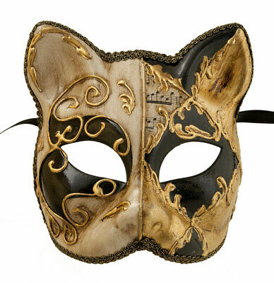 Mask Cat Venetian Carnival Venice Lully Black Golden Painted Handmade 1947 -V60