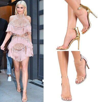 sexy Shiny Metallic mirror Clear Strap Stiletto High Heels Pumps Sandal size H43 Strap Sexy High Heels