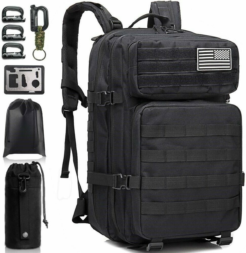 Large Military Tactical Backpack Army Survival Waterproof He