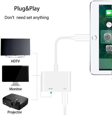 For Apple iPad iPhone 5 6 7 8 X XS Lightning to HDMI Digital TV AV Adapter Cable