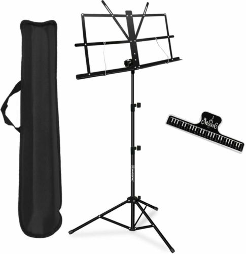 Music Stand, Collapsible Portable with Music Sheet Clip Holder & Carrying Bag