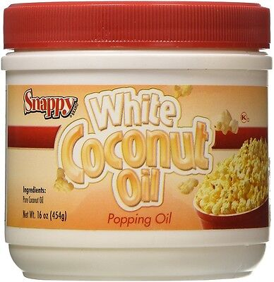 Popcorn Machine Supplies - Pure White Coconut Oil - 16oz Jar