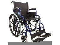 Aidapt Blue Self Propelled Steel Transit Chair - MINT CONDITION