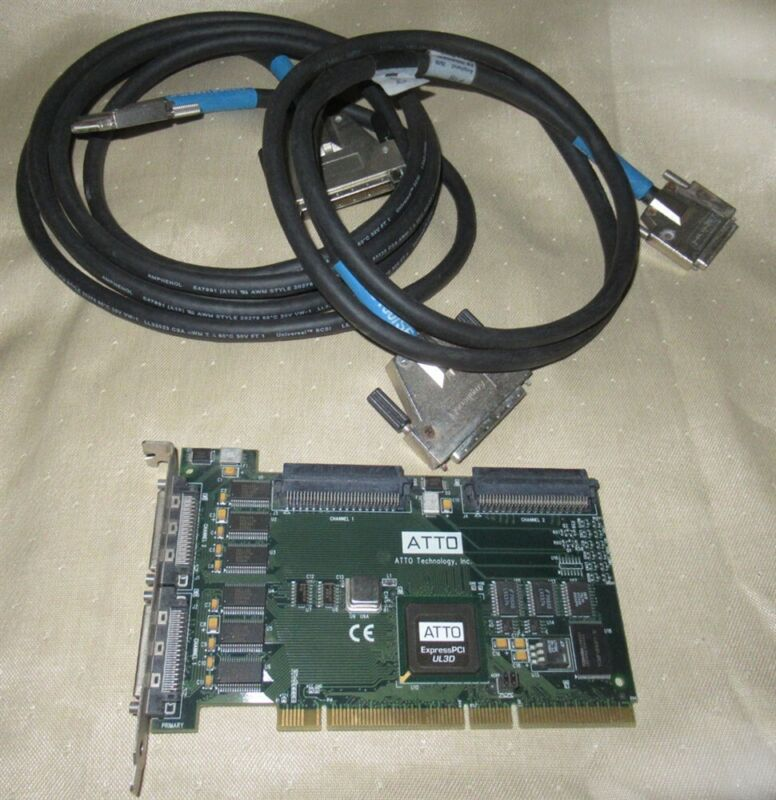 ATTO Express PCI Dual Channel ULTRA 3 SCSI Host Adapter UL3D PCI w/ 2 Cables