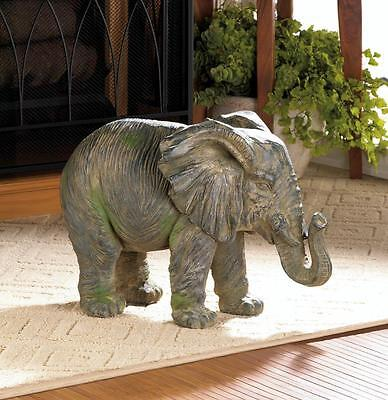 ELEPHANT STATUE WEATHERED ACCENT SAFARI ANIMAL INDOOR OR OUTDOOR DECOR ~10017916