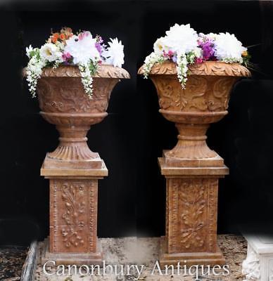 Pair Big Italian Marble Tuscan Garden Urns on Pedestals
