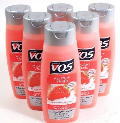 Vo5 Moisture Milks Shampoo - 6 Alberto VO5 Moisture Milks Strawberries & Cream Moisturizing Shampoo 12.5oz